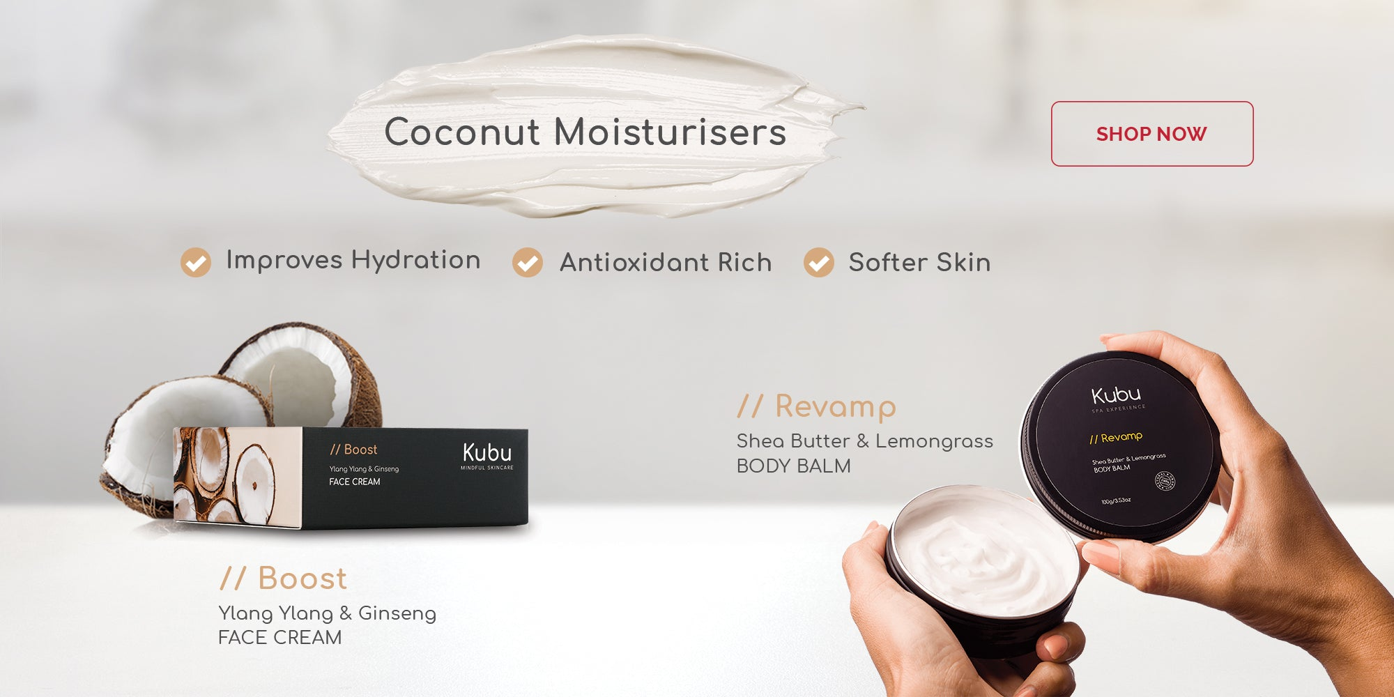 Kubu Boost Face Cream and Revamp Body Balm with Coconuts