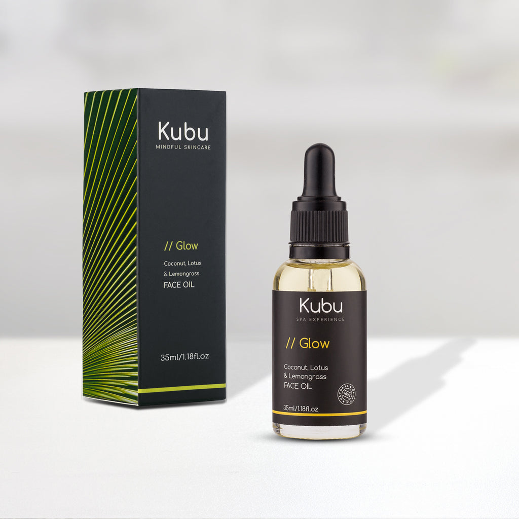 Bottle of Kubu Glow Face Oil with Box