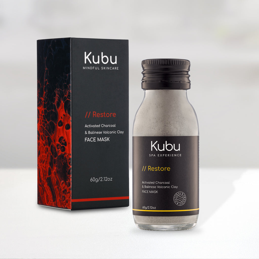 Bottle of Kubu Restore Charcoal Face Mask with Box