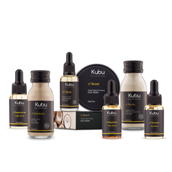 Kubu Anti-Aging Skin Ritual Kit with Face Scrub, Mask, Cream, 3 Serums and Glow Face Oil