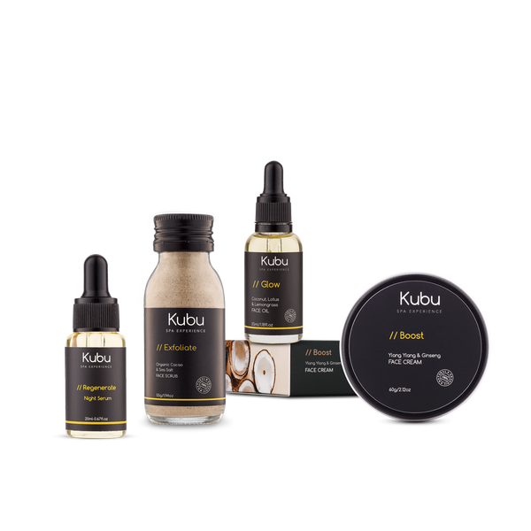 Kubu Anti-Aging Set with Face Scrub, Face Oil, Face Cream and Night Serum