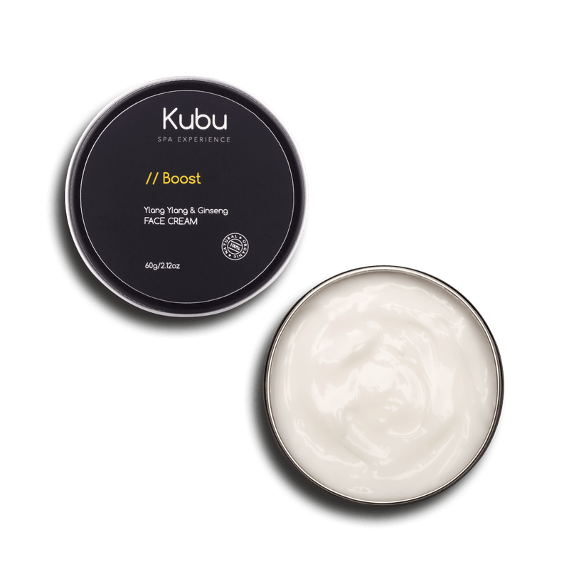 Open Kubu Boost Face Cream with lid beside it