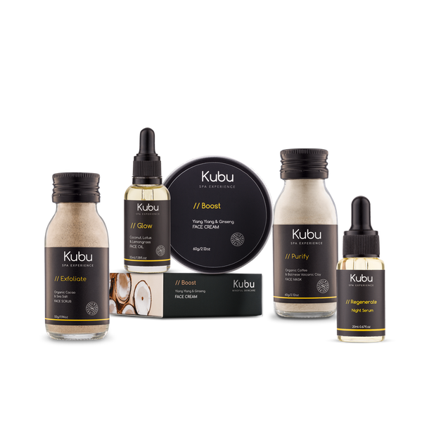 Kubu Dry Skin Ritual Kit of Face Scrub,  Mask, Cream, Night Serum and Glow Face Oil