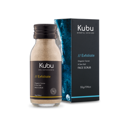 Bottle of Kubu Exfoliate Cacao Face Scrub and Box