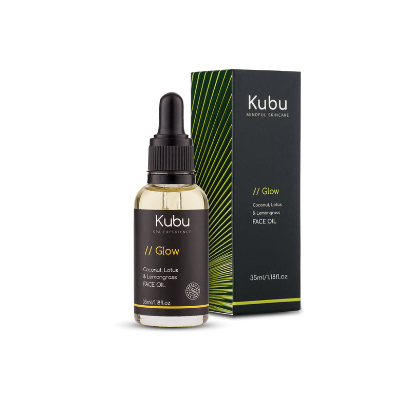 Bottle of Kubu Glow Face Oil and Box