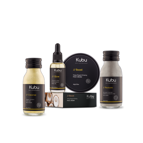 Kubu Acne Control Skin Ritual Kit of Face Scrub,  Mask, Cream and Glow Face Oil