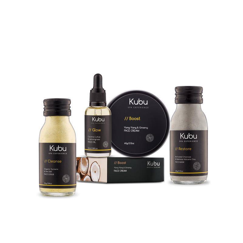 Kubu Oily Skin Ritual Kit of Face Mask, Scrub, Cream and Glow Face Oil