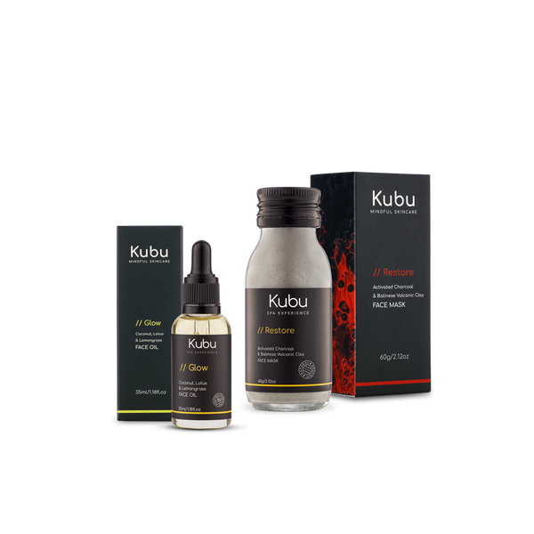 Kubu Acne Control Duo Set of Face Mask and Glow Face Oil with Boxes