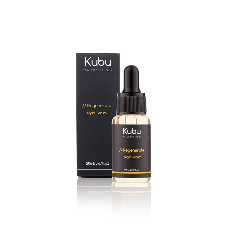Bottle of Kubu Regenerate Night Serum and Box