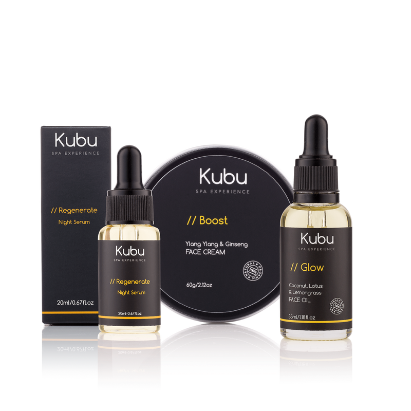 Kubu Regenerate Face Care Kit of Face Cream, Night Serum and Glow Face Oil