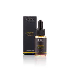 Bottle of Kubu Replenish Face Serum and Box