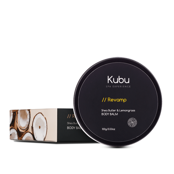 Kubu Revamp Body Balm with box next to it
