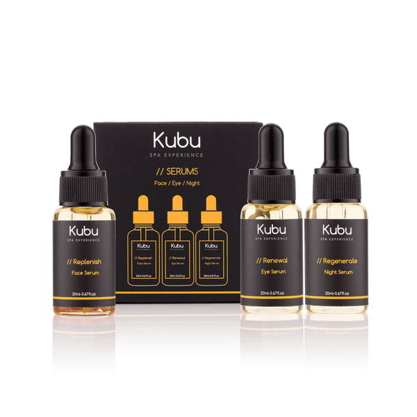 Kubu Essential Face Serum Trio bottles next to the box