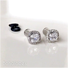 Load image into Gallery viewer, Plugs gauges crystal plugs Square CZ halo stud wedding plugs gauges 4g 2g 1g 0g