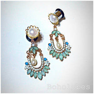 Plugs gauges dangle plugs Bohemian pearl gauges dangle hider plugs crystal plugs: 6g - 7/16""