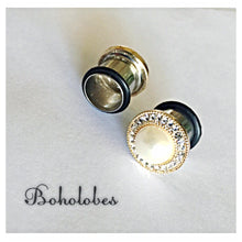Load image into Gallery viewer, Gold pearl plugs crystal plugs wedding plugs gauges 8g - 9/16""
