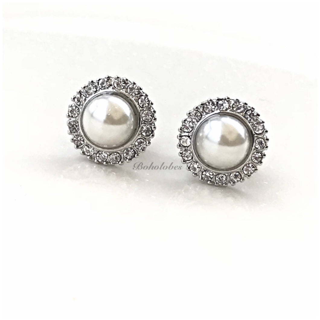 Pearl button crystal wedding fancy plugs tunnels gauges: sizes 4g- 9/16