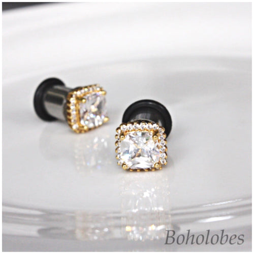 Plugs gauges Square faux diamond plugs crystal plugs yellow gold plugs gauges 4g - 0g