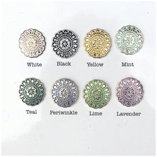 Load image into Gallery viewer, Plugs gauges Mandala plugs bohemian plugs mint green round gold toned lace plugs sizes: 6g - 00g