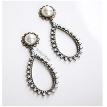 Load image into Gallery viewer, Rhinestone dangle pearl turquoise hider plugs tunnels gauges 6g 4g 2g 1g 0g 00g