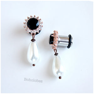 Rose gold rhinestone dangle dark black faux onyx and clear crystal plugs 4g - 00g