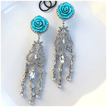 "Load image into Gallery viewer, Turquoise blue flower rose hider plugs gauges :  9/16"" 5/8"" 3/4"""