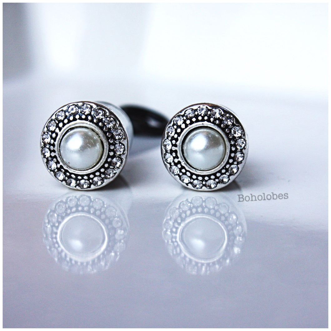 Pearl crystal button plugs wedding gauges 2g - 1/2