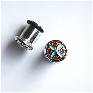 Two toned blue and red accent hider plugs tunnels gauges: sizes 2g - 00g