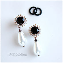 Load image into Gallery viewer, Rose gold rhinestone dangle dark black faux onyx and clear crystal plugs 4g - 00g