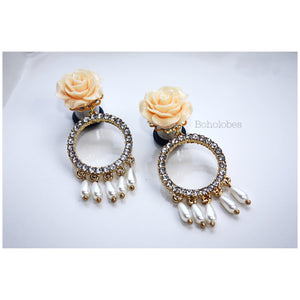 Rose flower rhinestone dangle fancy wedding plugs tunnels gauges 4g - 1/2""