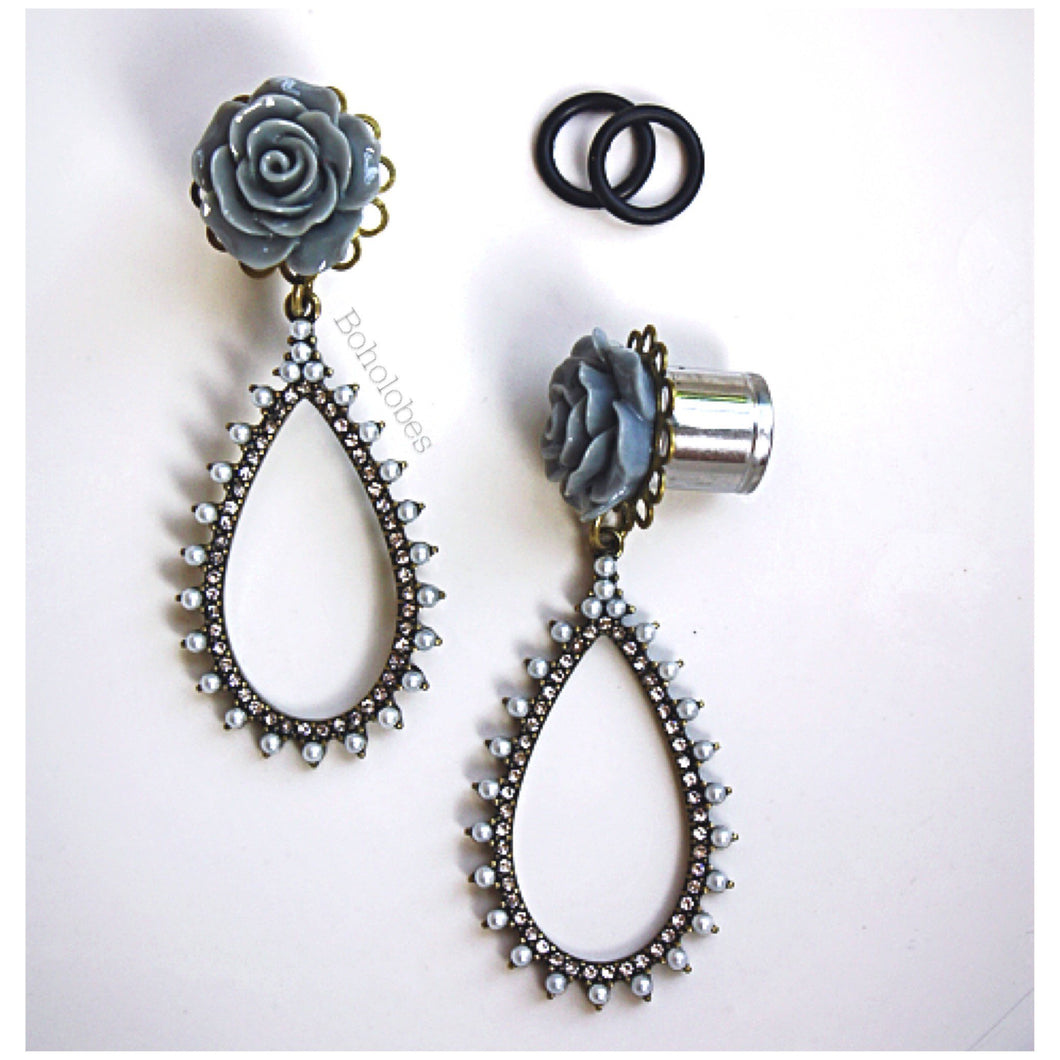 Rose plugs flower plugs crystal plugs pearl plugs dangle wedding plugs gauges 4g - 1/2