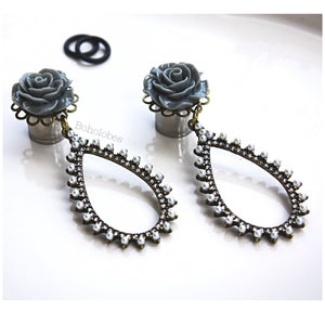 Rose plugs flower plugs crystal plugs pearl plugs dangle wedding plugs gauges 4g - 1/2""