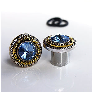 "White gold and yellow gold two-toned crystal plugs gauges 00g 7/16"" 1/2"" 9/16"" 5/8"""