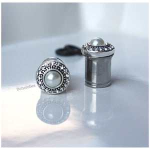 Pearl crystal button plugs wedding gauges 2g - 1/2""