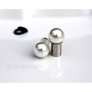 Pearl plugs White Swarovski pearl ball plugs: 8g - 7/16""
