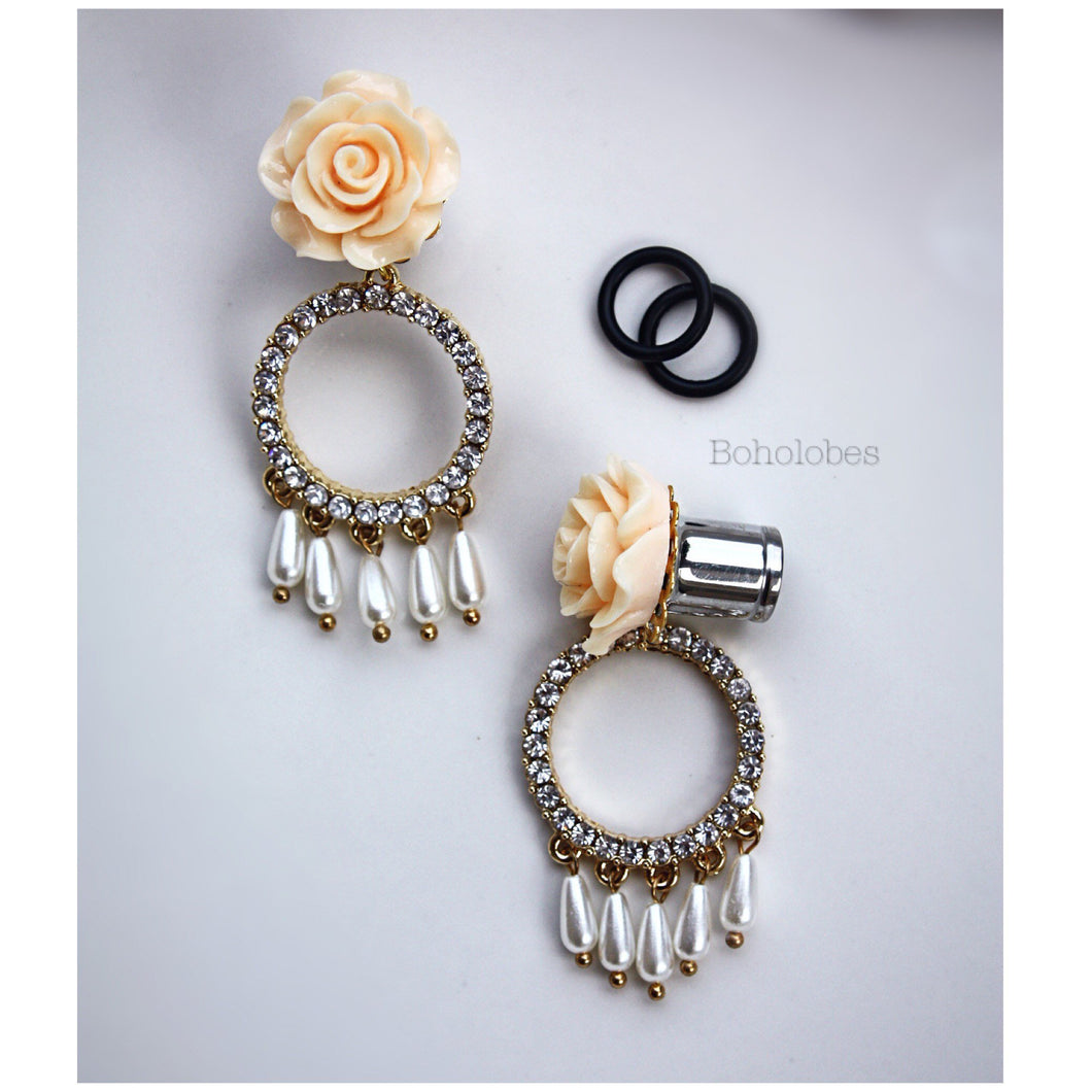 Rose flower rhinestone dangle fancy wedding plugs tunnels gauges 4g - 1/2
