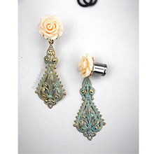 Load image into Gallery viewer, Rose flower filigree dangle fancy wedding plugs tunnels gauges Sizes 4g - 1/2""