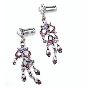 Rhinestone dangle purple pink crystal pearl hider plugs tunnels guages 6g 4g 2g