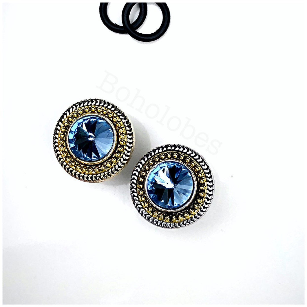 White gold and yellow gold two-toned crystal plugs gauges 00g 7/16