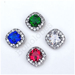 Plugs gauges crystal plugs Square CZ halo stud wedding plugs gauges 4g 2g 1g 0g
