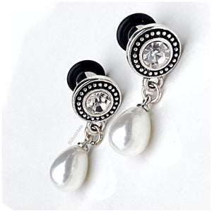 Crystal and faux pearl dangle drop with dot trim plugs tunnels gauges 4g - 00g