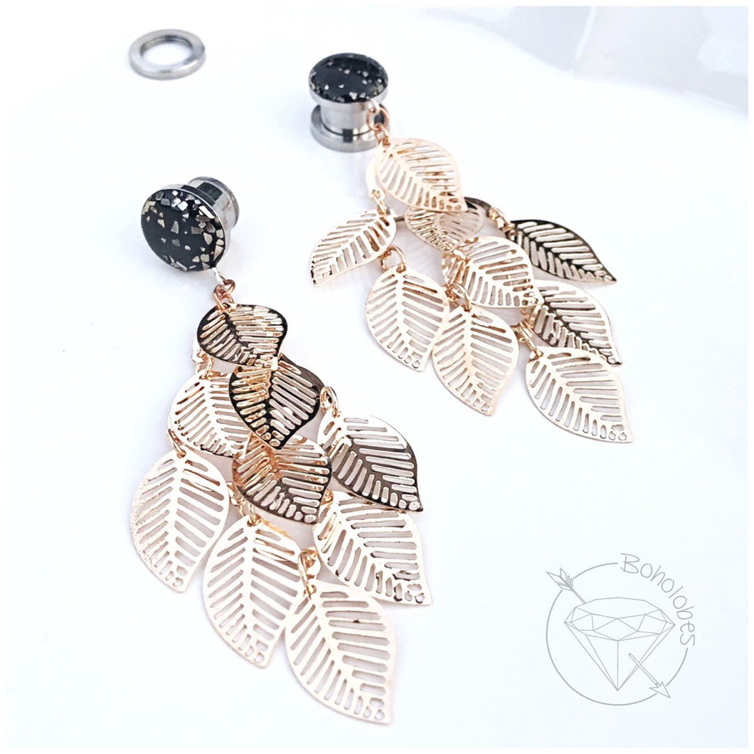 Black gold flake vintage leaf leaves foliage dangle plugs for gauged ears: 16g-1