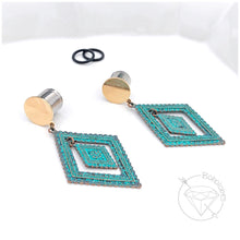 Load image into Gallery viewer, Teal and Gold dangle plugs retro bohemian plugs gauges tunnels 8g - 1""