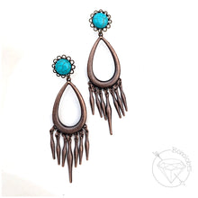 Load image into Gallery viewer, Turquoise blue fringe dangle hider plugs tunnels for gauged ears:  4g 2g 1g 0g 00g