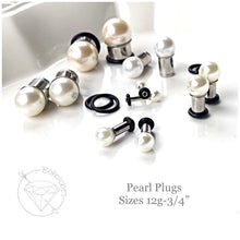 Load image into Gallery viewer, Pearl ball plugs wedding plugs single flare plugs tunnels 14g - 3/4""