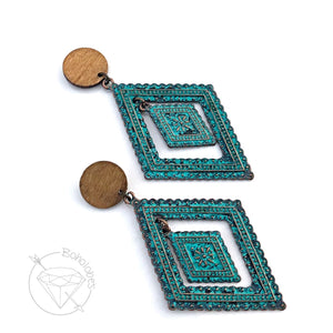 Teal wood retro bohmian style filigree statement drop dangle hider plugs tunnels 6g - 0g