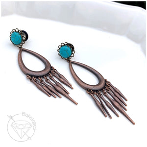 Turquoise blue fringe dangle hider plugs tunnels for gauged ears:  4g 2g 1g 0g 00g