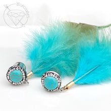 Load image into Gallery viewer, Turquoise feather plugs Rhinestone feather plugs hider plugs gauges 6g - 7/16""