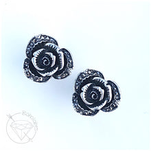 Load image into Gallery viewer, Gothic crystal plugs flower rose plugs tunnels gauges 00g 7/16 1/2 9/16 5/8""