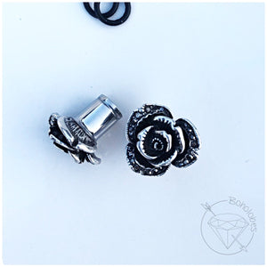 Gothic crystal plugs flower rose plugs tunnels gauges 00g 7/16 1/2 9/16 5/8""